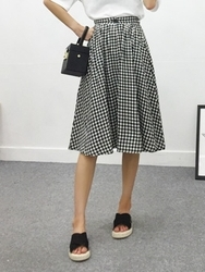 qnigirls-韩国格纹A字形时尚韩国代购长裙女装2017年08月07日08月款