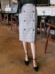 qnigirls-韩国韩版魅力个性格纹韩国代购中裙女装2017年08月09日08月款