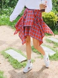 qnigirls-韩国休闲格纹时尚韩国代购长裙女装2017年08月09日08月款