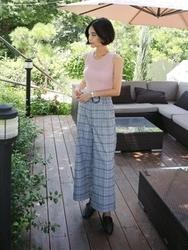 qnigirls-韩国格纹设计个性流行韩国代购长裤女装2017年08月09日08月款