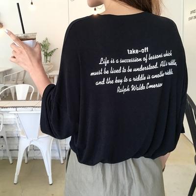 1区韩国本土服装代购(韩国圆通直发)qnigirls-字母韩版魅力T恤(2018-07-10上架)