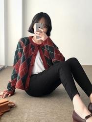 2018新款韩国服装qnigirls品牌拼色时尚格纹韩版开襟衫(2018.1月)