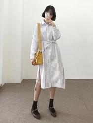 2018新款韩国服装qnigirls品牌条纹长款轻松流行衬衫(2018.1月)