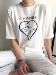 2018新款韩国服装qnigirls品牌心形图案时尚半袖T恤(2018.1月)