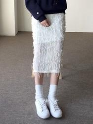 2018新款韩国服装qnigirls品牌休闲纯色气质流行长裙(2018.1月)