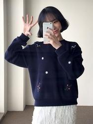 2018新款韩国服装qnigirls品牌花纹宽松时尚新款针织衫(2018.1月)