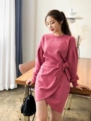 2018新款韩国服装qnigirls品牌极大休闲纯色韩版连衣裙(2018.3月)