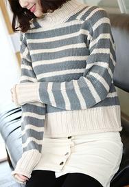 1区2016秋冬韩国服装|韩国代购|网店代理货源网redopin官网韩国时尚舒适条纹针织衫(2016.10)