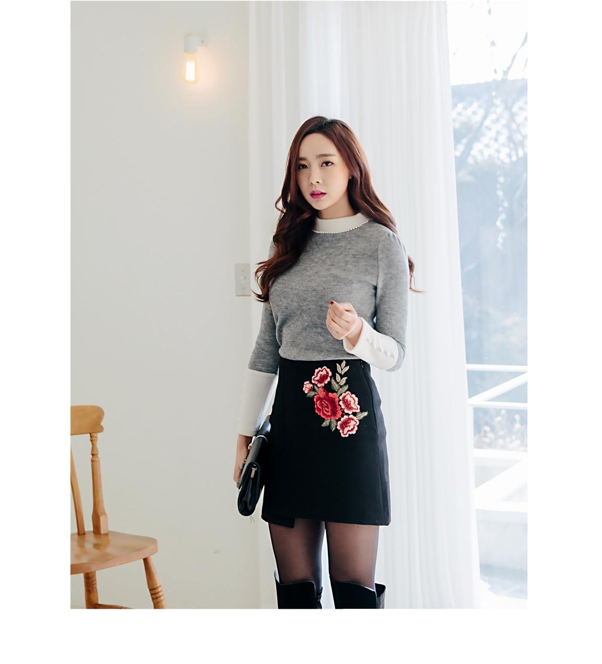 redopin-韩国可爱搭配韩版冬季魅力珍珠韩国代购毛衣