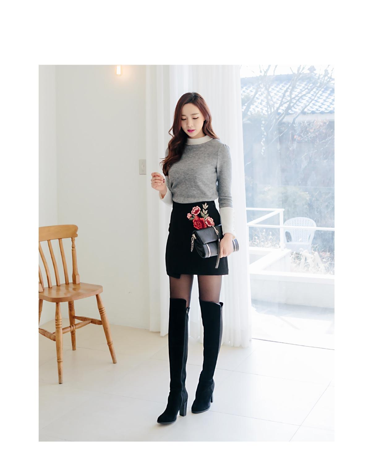 redopin-韩国可爱搭配韩版冬季魅力珍珠韩国代购毛衣针织衫女装2017年