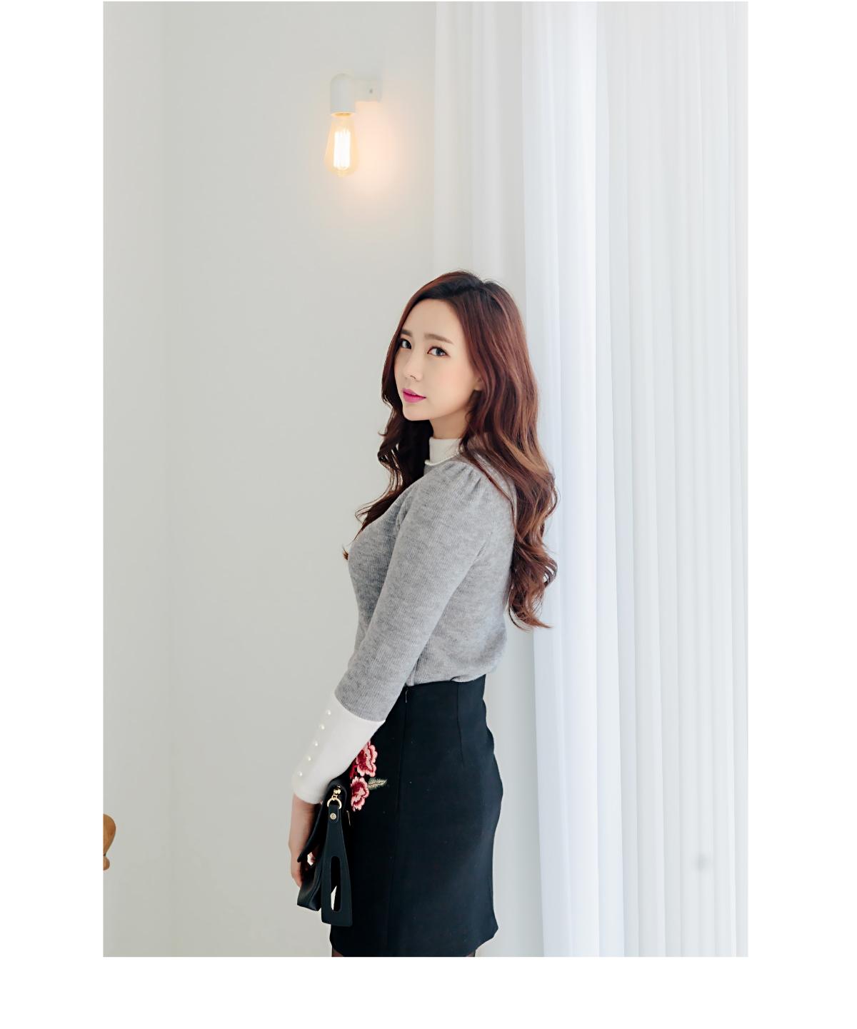 可爱搭配韩版冬季魅力珍珠韩国代购毛衣针织衫女装20