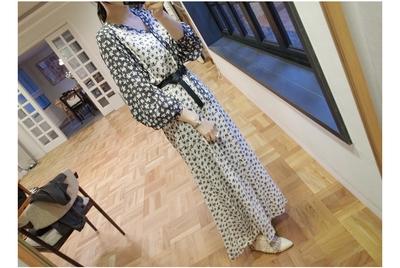 1区韩国代购正品验证ribbontie-rbop00692144-碎花纹人造丝长连衣裙