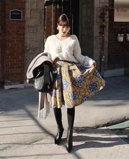 1区2017冬季新款韩国服装ribbontie品牌个性时尚花纹中裙(2017.11月)