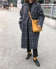 2018新款韩国服装ribbontie品牌格纹时尚冬季魅力大衣(2018.1月)
