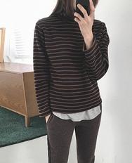 2018新款韩国服装ribbontie品牌半高领时尚条纹流行针织衫(2018.1月)