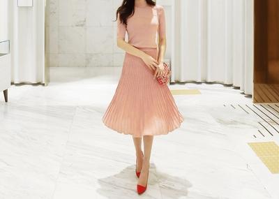 shescoming-针织上衣裙子套装