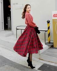 1区2017秋季新款|韩国发货|shescoming品牌韩国魅力时尚格纹长裙(2017.11月)