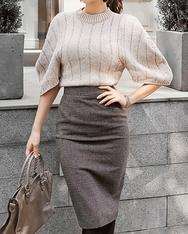 1区2017冬季新款韩国服装shescoming品牌魅力时尚格纹中裙(2017.11月)