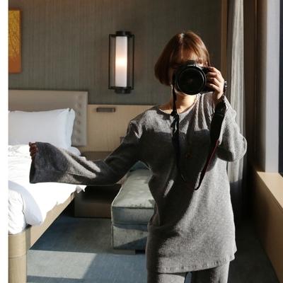 ssongbyssong-韩版简约混色百搭针织衫
