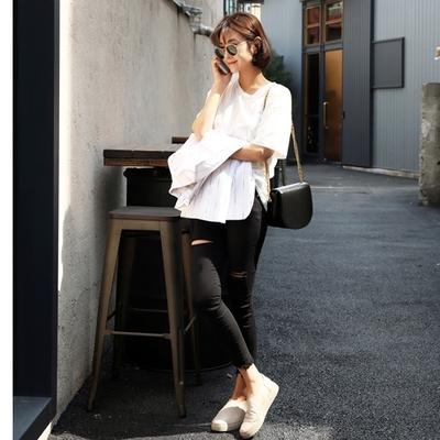 ssongbyssong-修身纯色磨破长裤
