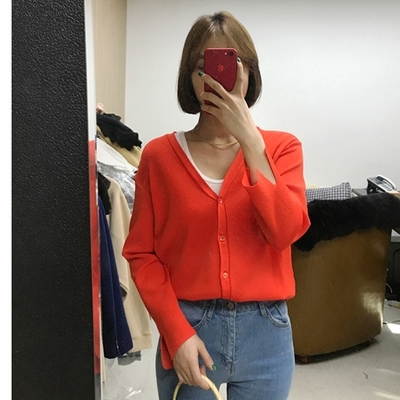 ssongbyssong-简约纯色单排扣开襟衫