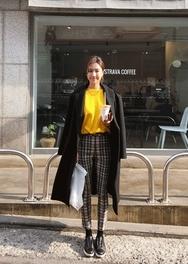 2018新款韩国服装ssongbyssong品牌时尚可爱格纹长裤(2018.1月)