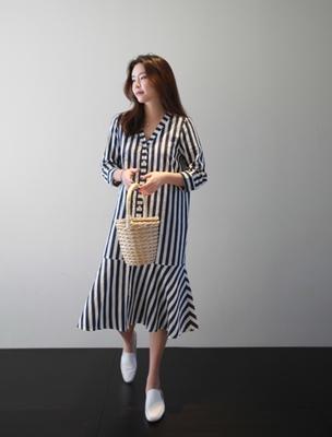 ssumj-时尚百搭条纹连衣裙
