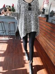 1区韩国代购正品验证ssunny-SYKN00831404-时尚混合色宽松不对称针织衫
