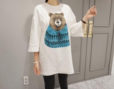 2018新款韩国服装ssunny品牌宽松熊图案魅力女性t恤(2018.1月)