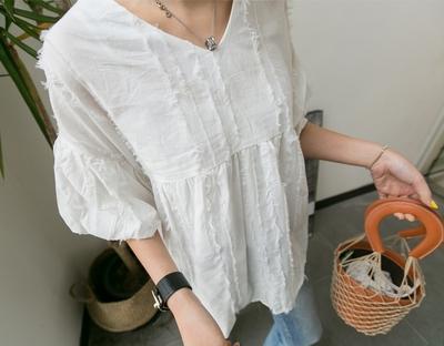 1区韩国本土服装代购(韩国圆通直发)ssunny-V领宽松时尚衬衫(2018-04-18上架)
