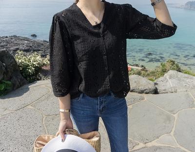 1区韩国本土服装代购(韩国圆通直发)ssunny-优雅韩版蕾丝衬衫(2018-04-24上架)