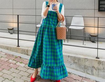 1区韩国本土服装代购(韩国圆通直发)ssunny-格纹方领可爱外搭连衣裙(2018-04-24上架)