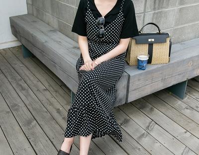 1区韩国本土服装代购(韩国圆通直发)ssunny-点点时尚魅力新款连衣裙(2018-04-24上架)