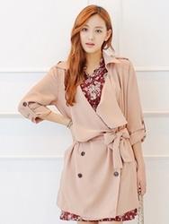 1区韩国代购正品验证styleberry-SBCT00755948-大方魅力韩版纯色大衣+腰带