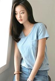 1区春装韩国代购|服装货源网一件代发styleberry官网韩国V领纯色短袖T恤(2016.4中)