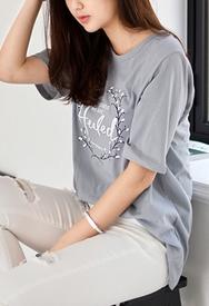 1区春装韩国代购|服装货源网一件代发styleberry官网韩国圆领文字中袖T恤(2016.4中)