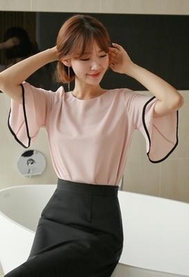 1区韩国本土服装代购(韩国圆通直发)styleberry-时尚优雅配色衬衫(2018-07-07上架)