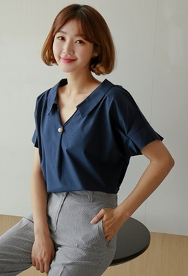 1区韩国本土服装代购(韩国圆通直发)styleberry-韩版个性珍珠衬衫(2018-07-07上架)