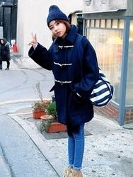 1区韩国代购正品验证stylenanda-SNCT00831137-韩版基本大衣袋牛角扣宽松大衣