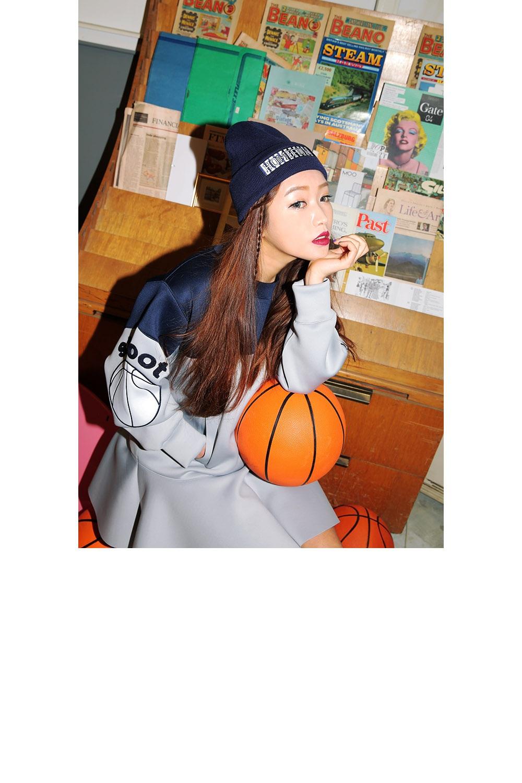 韩国代购正品-stylenanda-可爱篮球图案刺绣褶边连衣裙(制作商品)