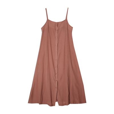 代购一手货源stylenanda官网韩国可爱纯色a型单排扣吊带连衣裙(2016.