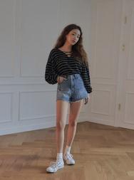 stylenanda-韩国百搭纯棉牛仔韩国代购短裤女装2017年08月07日08月款