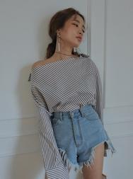 stylenanda-韩国百搭纯棉条纹韩国代购正品衬衫女装2017年08月07日08月款
