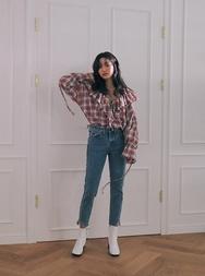 stylenanda-韩国夏季魅力格纹韩国代购正品衬衫女装2017年08月09日08月款
