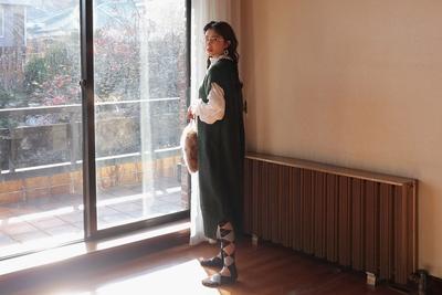stylenanda-干净利落设计纯色连衣裙