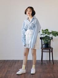 2018新款韩国服装stylenanda品牌清新纯色康康短裙(2018.1月)
