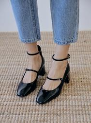 2018新款韩国服装stylenanda品牌复古漆皮纯色高跟鞋(2018.1月)