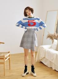 2018新款韩国服装stylenanda品牌清新不规则条纹短裙(2018.1月)