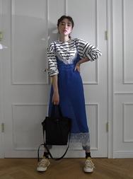 2018新款韩国服装stylenanda品牌复古蕾丝边吊带连衣裙(2018.1月)