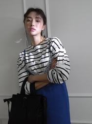 2018新款韩国服装stylenanda品牌休闲条纹百搭T恤(2018.1月)